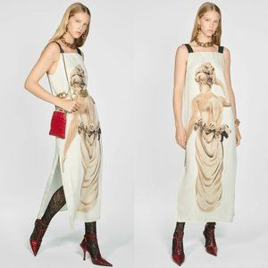 Zara Statue Print Straight Neck Long Dress
